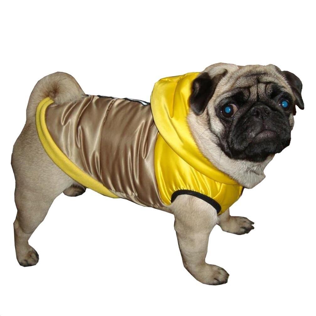Winter Waterproof Dog Pet Coat Pug Bulldog Hood Outfit Leash D-ring Reflective Dog Jacket