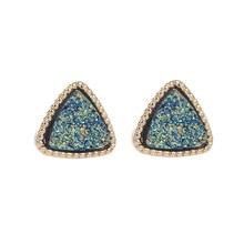 Pendientes geométricos triángulo Druzy Stud de piedra de moda para las mujeres minimalista vintage coreano pequeños pendientes joyería femenina regalo