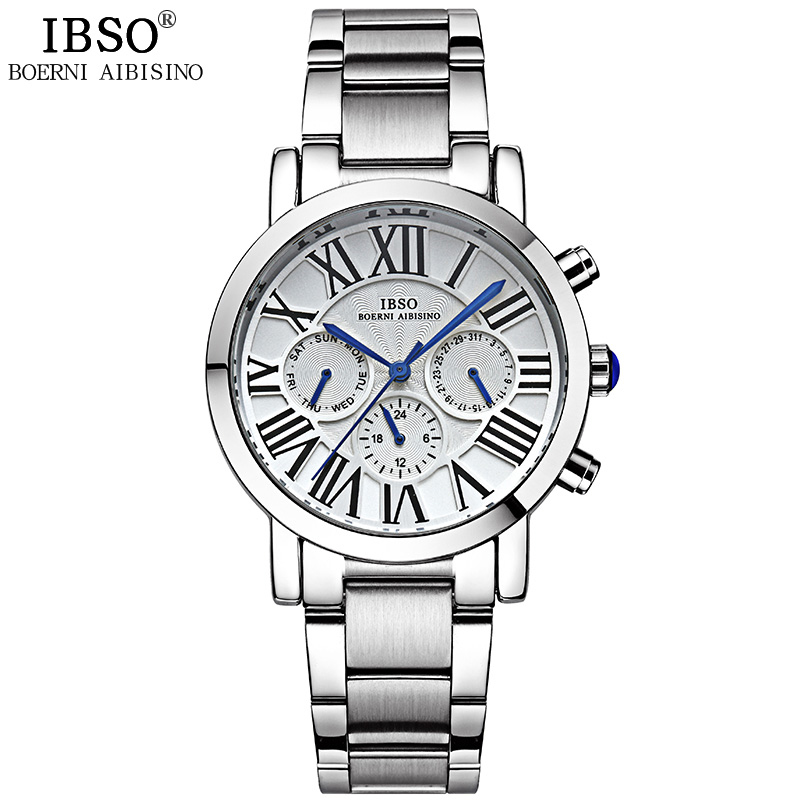 IBSO 2018 Top Brand Luxury Mens Watches Stainless Steel Watch Men Clock Multifunction Quartz Wristwatches Relogio Masculino ibso creative men watches 2018 top brand luxury stainless steel wristwatch mens quartz watch male clock relogio masculino