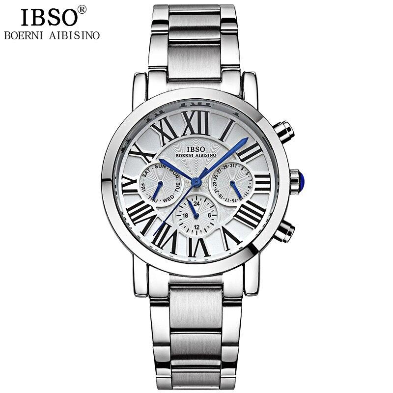 IBSO 2019 Top מותג יוקרה Mens שעונים נירוסטה - שעונים גברים