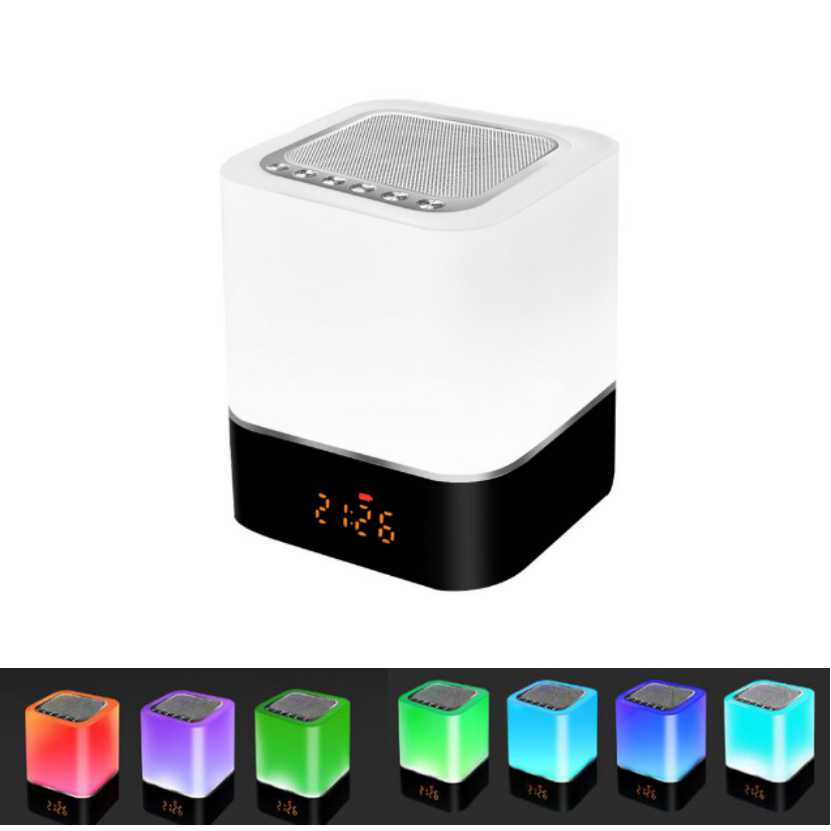 8 in 1 Bluetooth Speaker LED Night Light Bedside Ambience Lamp with Alarm Clock Rechargeable Touch Control Color LED nightlight led touch color change night light motion sensor bedside lamp bluetooth speaker touch control support mobile phone app control