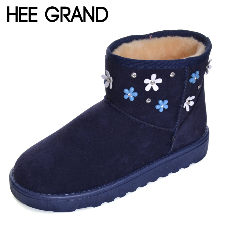 HEE GRAND Flower Decoration Winter Snow Boots Ankle Boots Girl Lovely Shoes Women Fashion Keeping Warm Winter Boots XWX6196