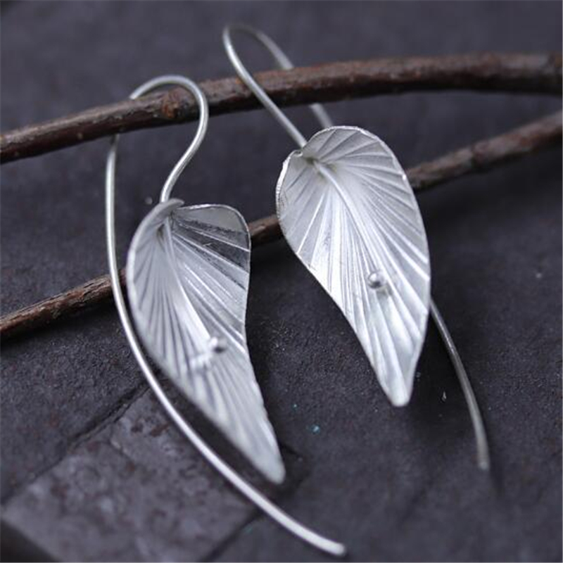 2018 Hot New Brand Designer Inspired Metallic Dangle Drop Earrings for Women 925 Sterling Silver Leaves Drop Earrings 17MM*27.5M tropical leaves drop earrings