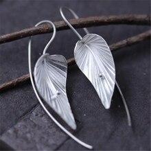 2018 Hot New Brand Designer Inspired Metallic Dangle Drop Earrings for Women 925 Sterling Silver Leaves Drop Earrings 17MM*27.5M цена