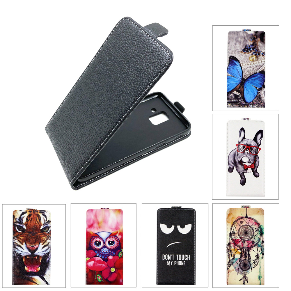 TPU Flip Leather case For Samsung A600 Galaxy A6 2018 SM-A600F 32G Back cover Fashion Cartoon Painting Phone Cover