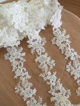 2 yards Thin Pearl Beaded Lace Trim in Ivory , Bridal Wedding Veil Straps for Sash, Headband Jewelry Costume design