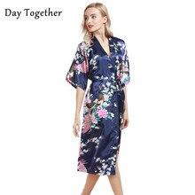 Сексуальный женский длинный халат, летние пижамы, халаты, кимоно, атлас, шелк, цветочный принт, халат, вискоза, ночная рубашка, Femme S-3XL