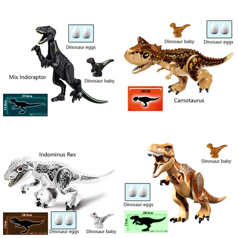 2Pcs Dinosaurs Tyrannosaurus Rex Building Blocks Jurassic World Figure Toy Gifts