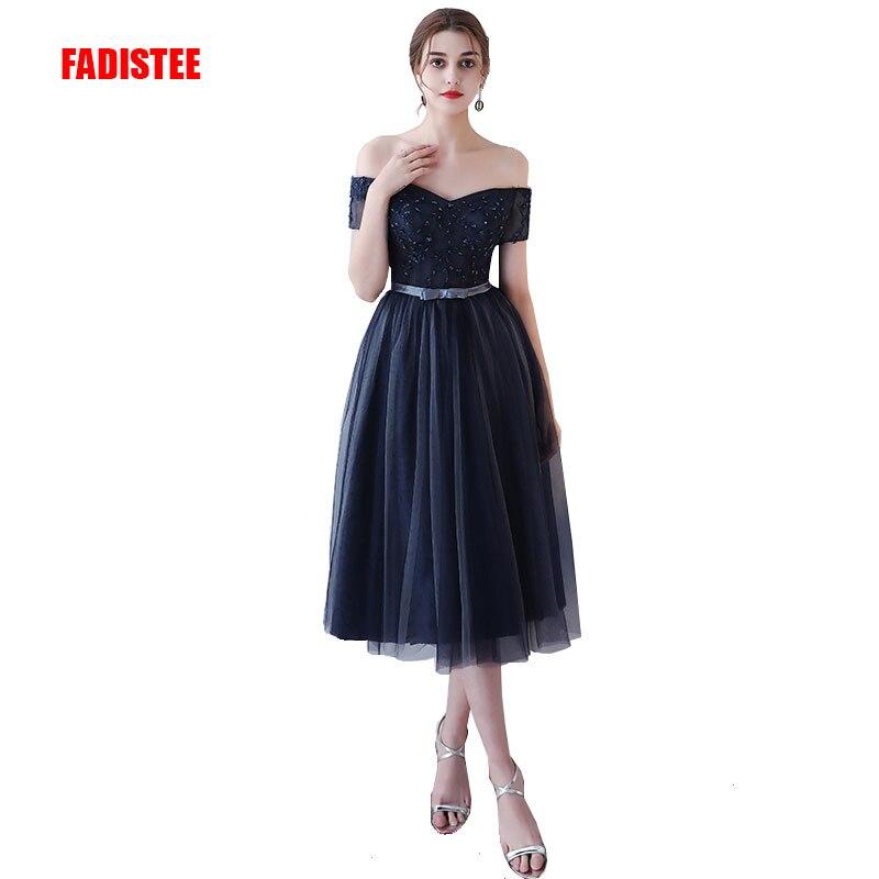 FADISTEE New Arrive Party Prom Dress Vestido De Festa Boat Neck A-line Lace-up Back Appliques Lace Tea-length Short Dresses