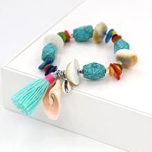 FONGOS Fashion Bohemian Bracelet Shell Stone Beads Charm Bracelets Women Jewelry Tassel Bracelet Dropshipping