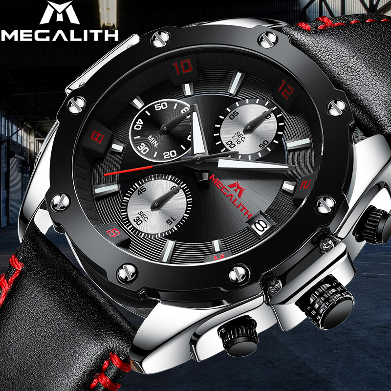 MEGALITH Military Sport Waterproof Watches Mens Chronograph Quartz Wrist Watch For Man Black Leather Analogue Clock Reloj HombreMEGALITH Military Sport Waterproof Watches Mens Chronograph Quartz Wrist Watch For Man Black Leather Analogue Clock Reloj Hombre