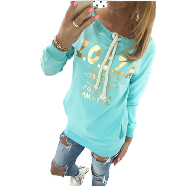 2017 New Tracksuit Women Printed Long Sleeve Hoodies O-neck Pullovers Medium-long Hoodies Sweatshirts