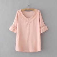 Camisas Femininas Summer Tops V Neck Cotton Linen Shirt Women Blouses Korean Fashion Clothing Blusas Mujer