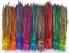 Wholesale!900Pcs/Lot,10-12(25-30cm)Multicolor Hen Ringneck Pheasant Tail Feathers,9Colours Available freeshipping