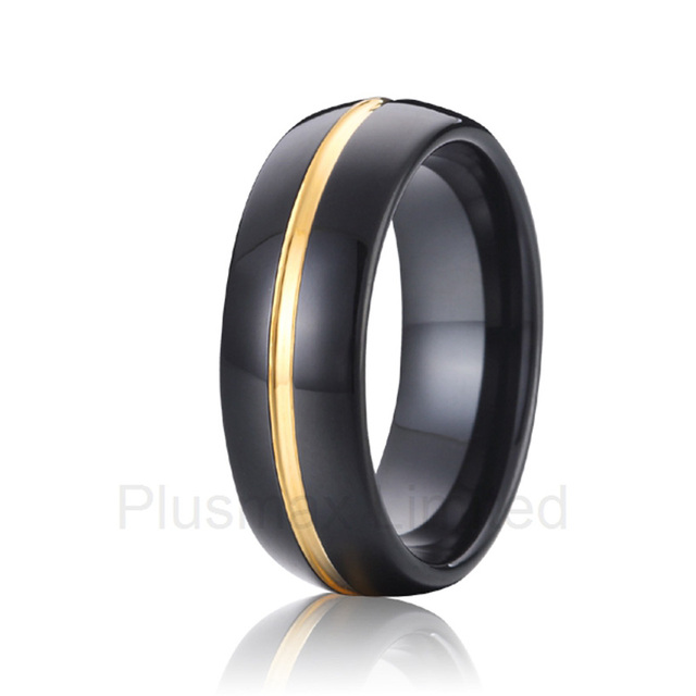 Mixed Order Acceptable gold plated inlay black 8mm mens and womens  tungsten carbide wedding bands anniversary rings