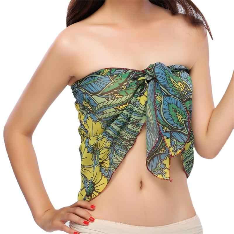 56960e75c1382 ... Dropshipping Women Beach Sarongs Chiffon Cover Up Bikini Swimwear  Coverup Wrap Skirt Swimsuit ...