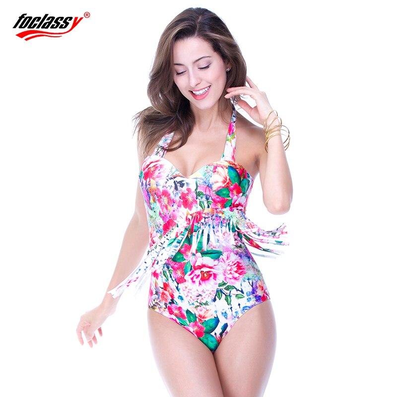 Foclassy girls 6xl swimsuit big fat women bathing suit floral print with tassels push up one piece plus size swimwear 7020