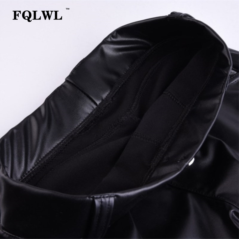 FQLWL Plus Sizes PU Leather Pants Women Elastic Waist Hip Push Up Black Sexy Female Leggings Jegging Casual Skinny Pencil Pants 16