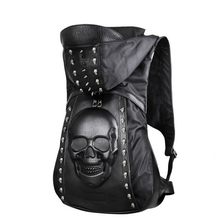 Real Take 2017 New Korea Personalized rivet 3D silicone stereo skull backpack fashion trend black cool  Caps Hiphop Backpacks