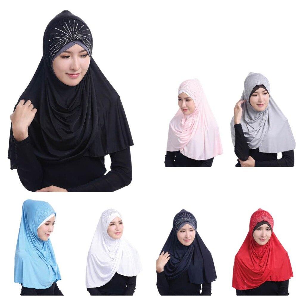 Free Shipping Mixed Wholesale Women Ice Fashion Belt Drill Scarf Hat Cap Two-face Bone Bonnet Ninja Mesh Islamic Neck Cover