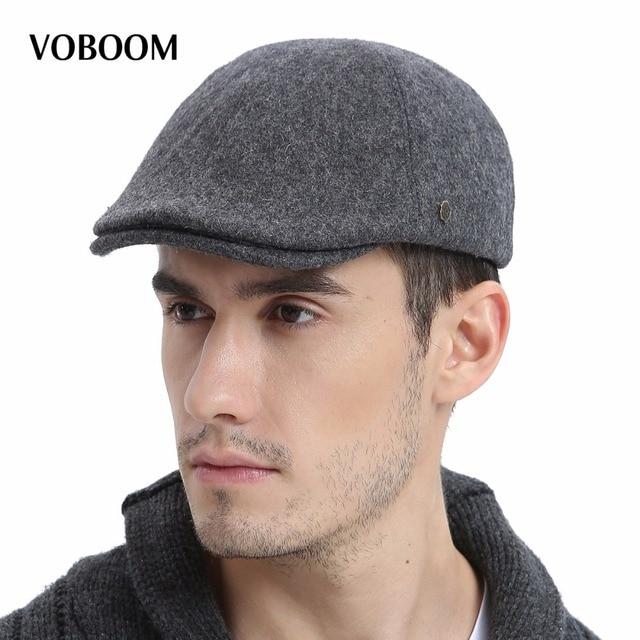 febf3c4c8cc VOBOOM Wool Tweed Men Solid Newsboy Cap Men Autumn Winter Warm Ivy Caps  Flat Hat Berets Boina 183