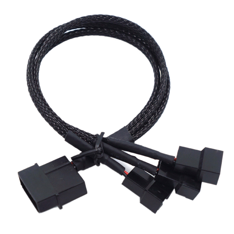 27cm Molex To 3 Way 3Pin/4Pin Fan Adapter For Computer Case Fan / CPU Fan / Mining Cooling Fans Black