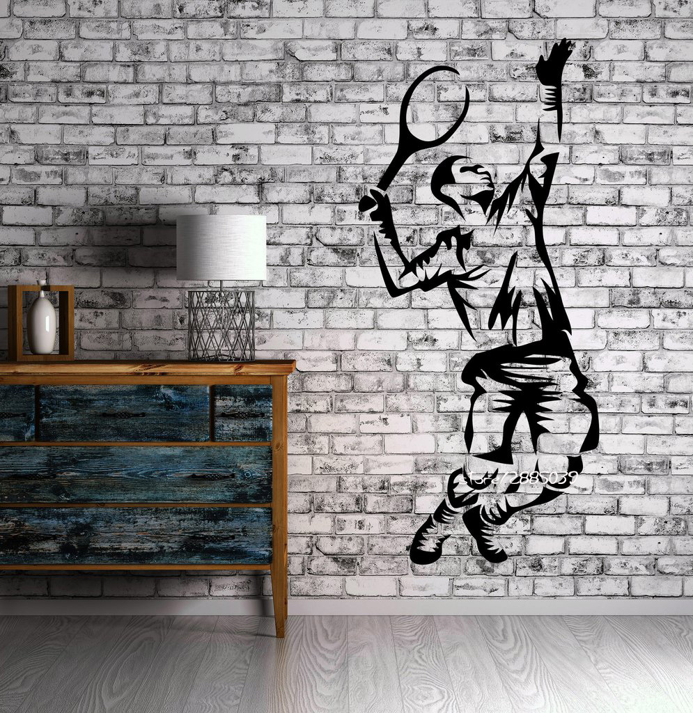 Tennis Sport Wall Stickers Serve Cool Decor For Living Room GYM Wall Sticker Vinyl Decal etiqueta pared vinilo Wallpaper SA822