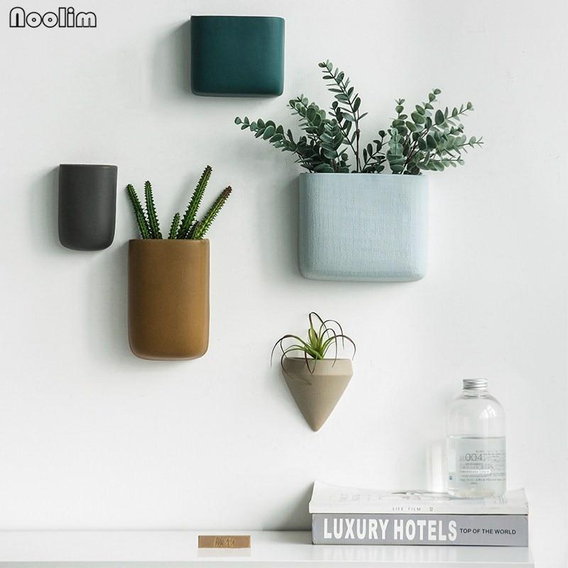 Ceramic Wall Flower Decor: NOOLIM Creative Ceramic Wall Vase Home Hanging Flower