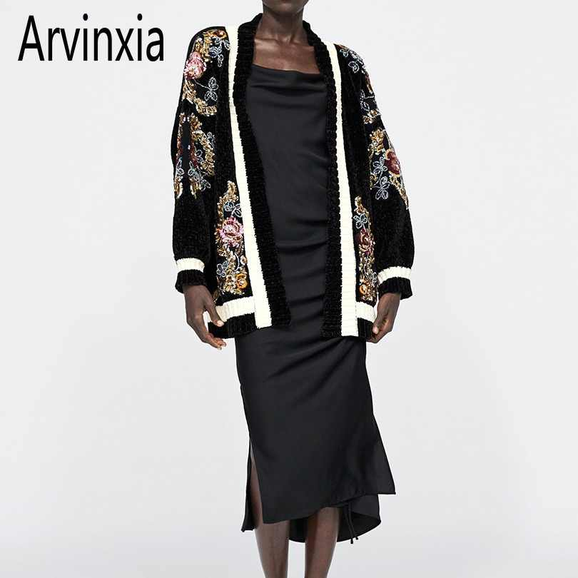 Arvinxia ZA New Arrival Sequined Beading Woman Cardigans Fashion Thick Ethnic Sweater Vintage Embroidery High Quality Streetwear