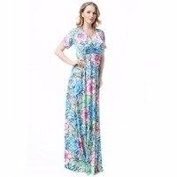 Летние красивые платье с цветочным принтом дамы плюс Размеры v-образным вырезом Короткие рукава длиной макси платье Винтаж халат платья ...
