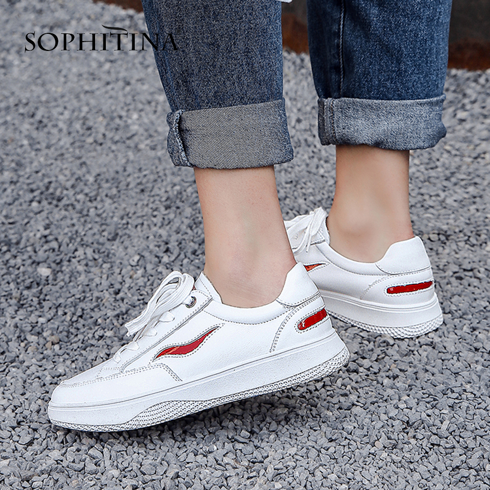 SOPHITINA 2019 New Arrival Skidproof Wear resistant White Solid Concise Woman Flats Lace up Casual Round