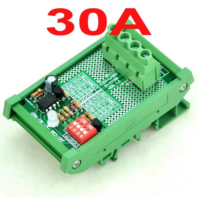 DIN Рейку LVD Низкого Напряжения Отключите Модуль, 24 В 30А, на основе МИКРОКОНТРОЛЛЕРОВ-MOSFET.