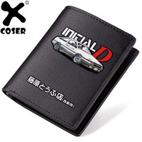 XCOSER Initial D The wallet Black PU Wallet Festival Gift Cosplay Costume Accessory For Men