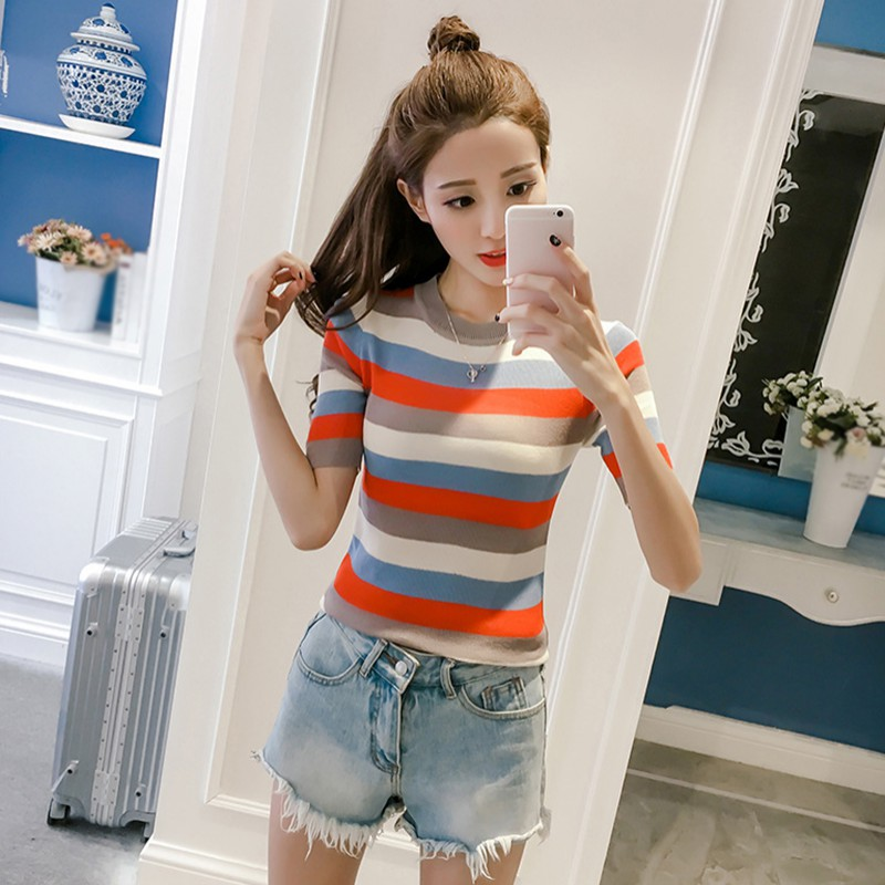 2019 New Summer Women Fashion Slim Striped T Shirt Casual Tops Short Sleeve Round Neck T shirt Korean Women Clothing feminina in T Shirts from Women 39 s Clothing