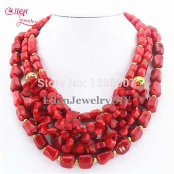 Red Coral Necklace Holiday Party Necklace Nigerian wedding Beads Coral beaded Jewelry Necklace Gift Bridal Jewelry AL0007
