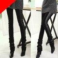 Elástica Mulher Lady Moda Skinny Leggings Pants Capris Algodão + Faux Leather leggings mulheres pantalones mujer 48 #