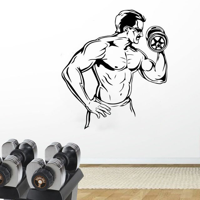 Image 1 - Fitness enthusiast exercise fitness vinyl wall stickers Fitness Club youth dormitory bedroom home decoration wall decals 2GY3-in Wall Stickers from Home & Garden