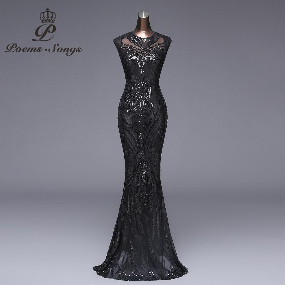 Poèmes chansons élégant Long noir Sequin robe de soirée vestido de festa robe longue robes de bal robe de soirée formelle robe réfléchissante