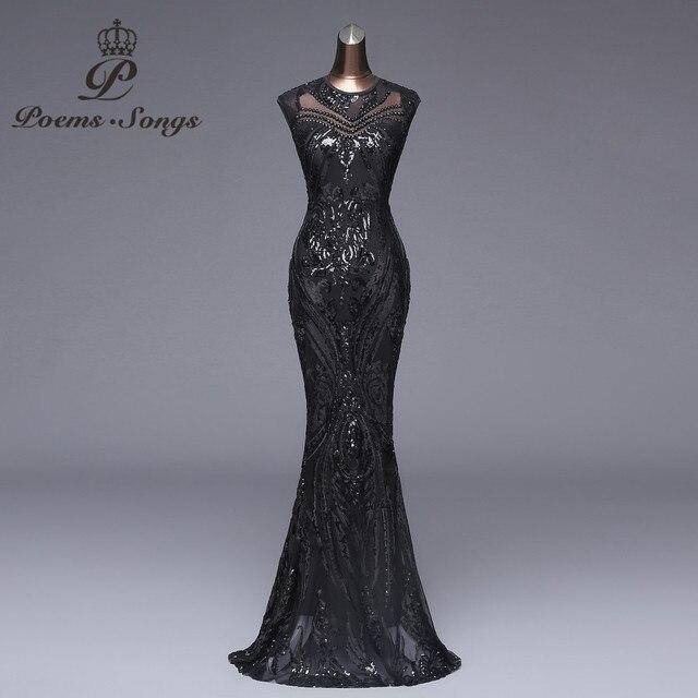 Poemas músicas Elegante vestido Longo de Paetês preto Vestido de Noite vestido de festa robe longue prom vestidos Formais vestido de Festa vestido reflexivo