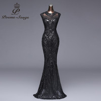Poems songs New Elegant Long black Sequin Evening Dress vestido de festa Sexy Backless robe longue prom gowns Formal Party dress