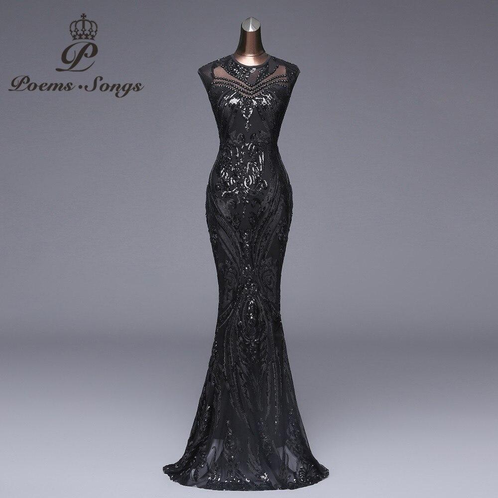 Poems songs New Elegant Long black Sequin Evening Dress vestido de festa  Sexy Backless robe longue prom gowns Formal Party dress 763ca7c8632d