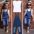 2016 Crianças Quentes Do Bebê Meninas 2 Peça Branca T-shirt Demin Jeans Set Verão Roupas Casuais meninas roupas define vestuário treino