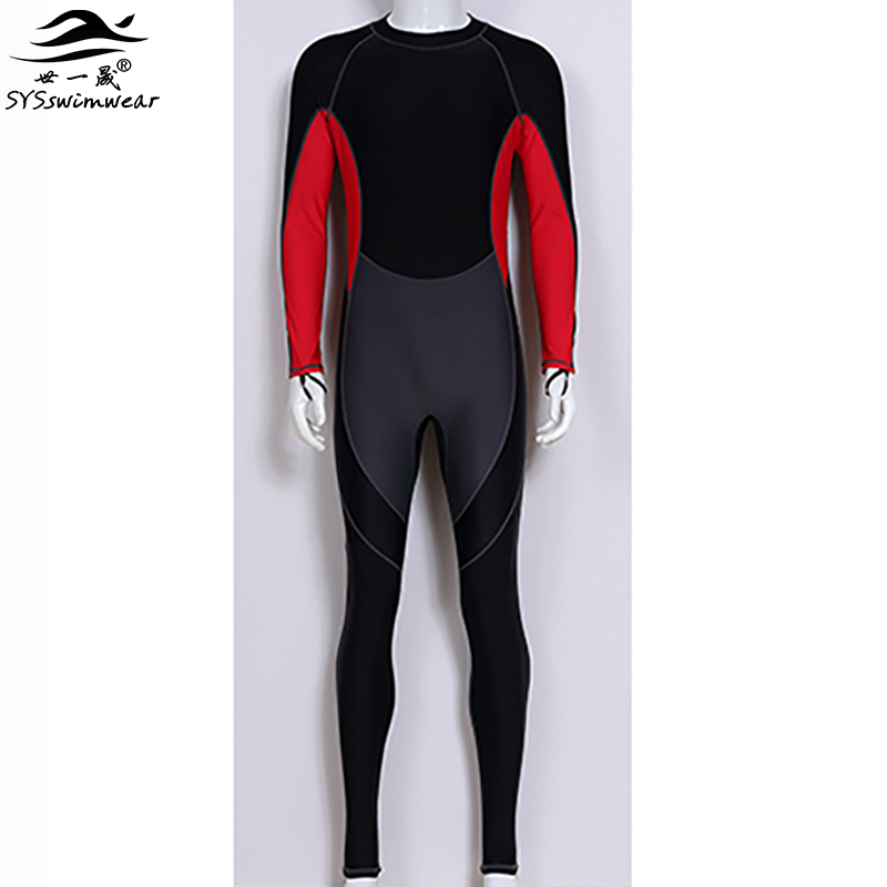 2017 New High Quality Long Sleeves Zipper Surfing Men One Pieces Swimwear Hot Snorkeling Swimsuit Sport Youngster Bathing Suit
