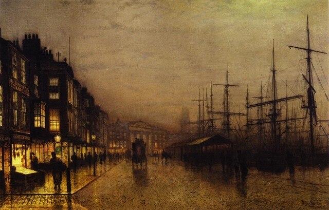 Glasgow Muelles Por luz de La Luna Por John Atkinson Grimshaw Sin ...
