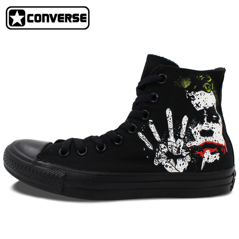 All Black Converse All Star Batman Joker Classic Design Custom Hand Painted Shoes High Top Canvas Sneakers Christmas Gifts 2016 woman shoes high heels platform ladies bow heel womens pumps 4 colors thin heels sexy wedding shoes for women big size