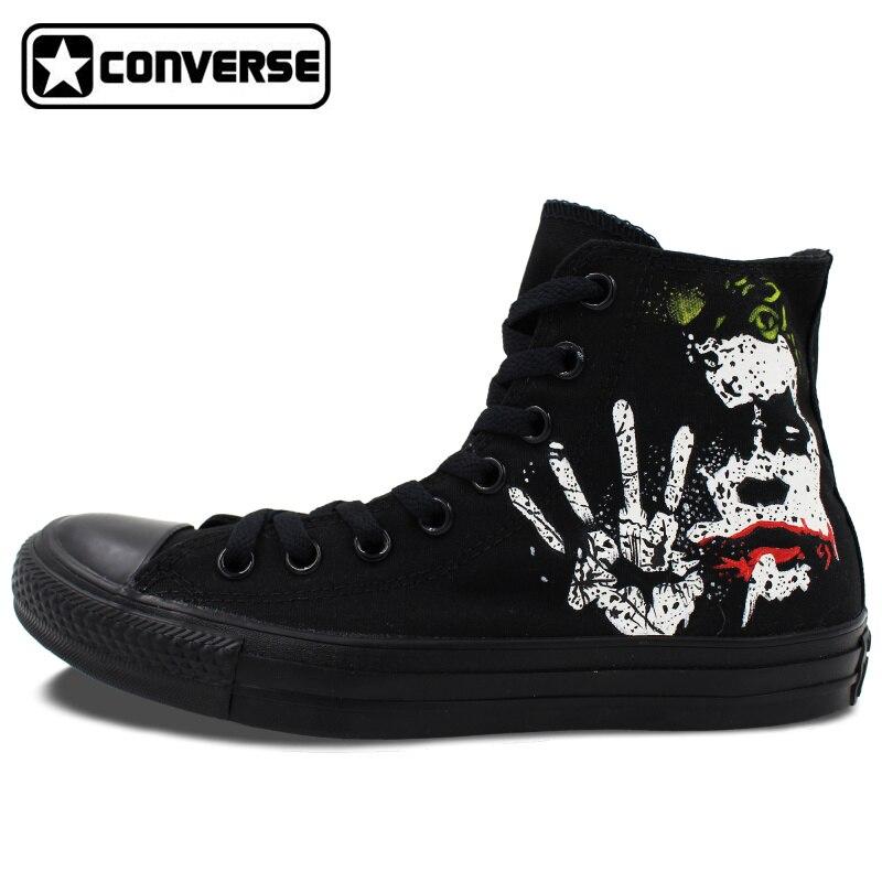 Prix pour Tous les Noir Converse All Star Batman Joker Classique Custom Design Peint À La Main Chaussures High Top Toile Sneakers De Noël Cadeaux