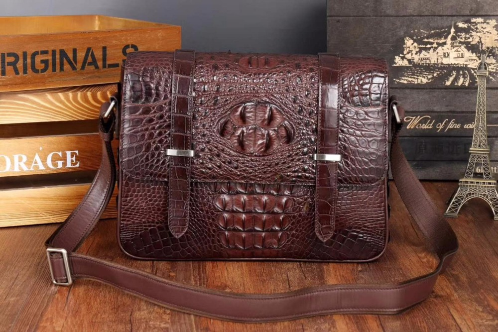 Top quality crocodile skin leisure cross body messenger bag young bag front flat back zip brown black color цена