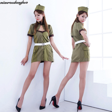 Cosplay female  army green military uniform police with DS Halloween costume dance outfit sexy temptation #5021