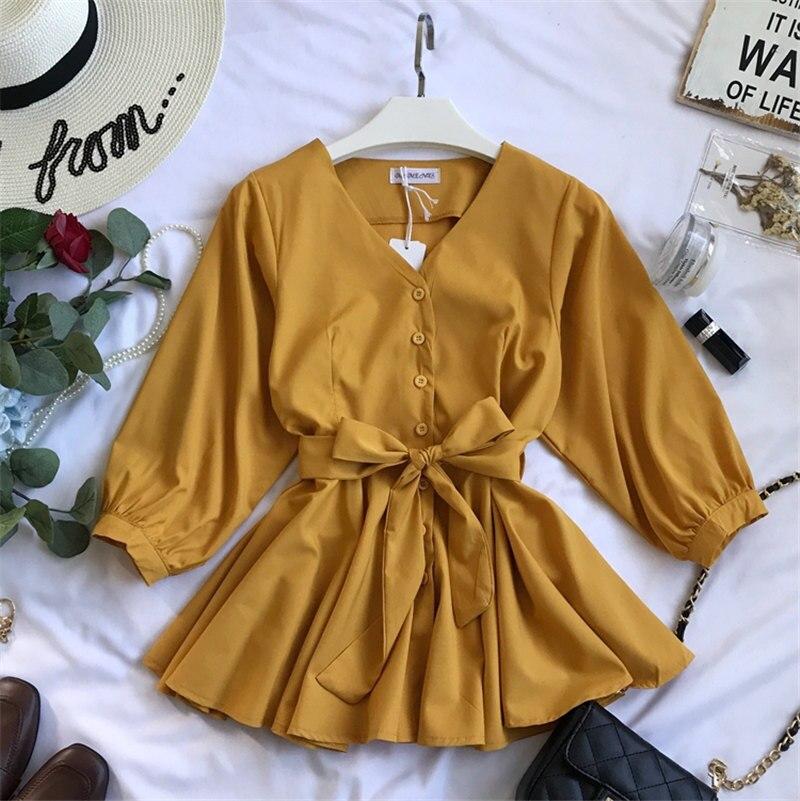 Woherb 2019 Casual V-neck Ruffles Shirt Women Bandage Blouse Elegant Single-breasted Blusas Office Shirts Vetement Femme 20728 2