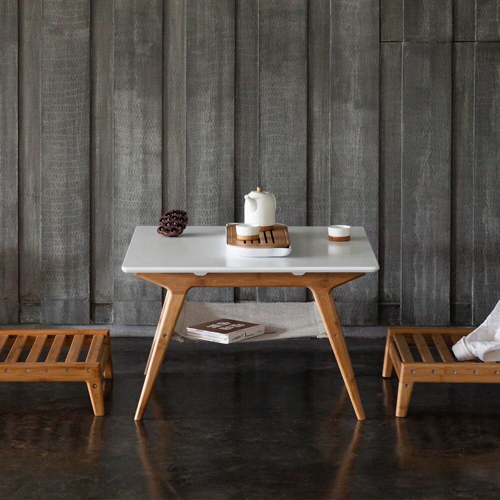 Table basse carrée en bambou ZEN'S table à thé en bambou Table Double couche blanche meubles de salon